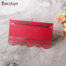 50pcs Red Lace Name Place Cards Wedding Decoration Table Decor Table Name Message Greeting Card Baby Shower Party Supplies 120pcs lot laser cut humming bird shaped table name place card escort card wine glass card wedding baby shower decoration wd108