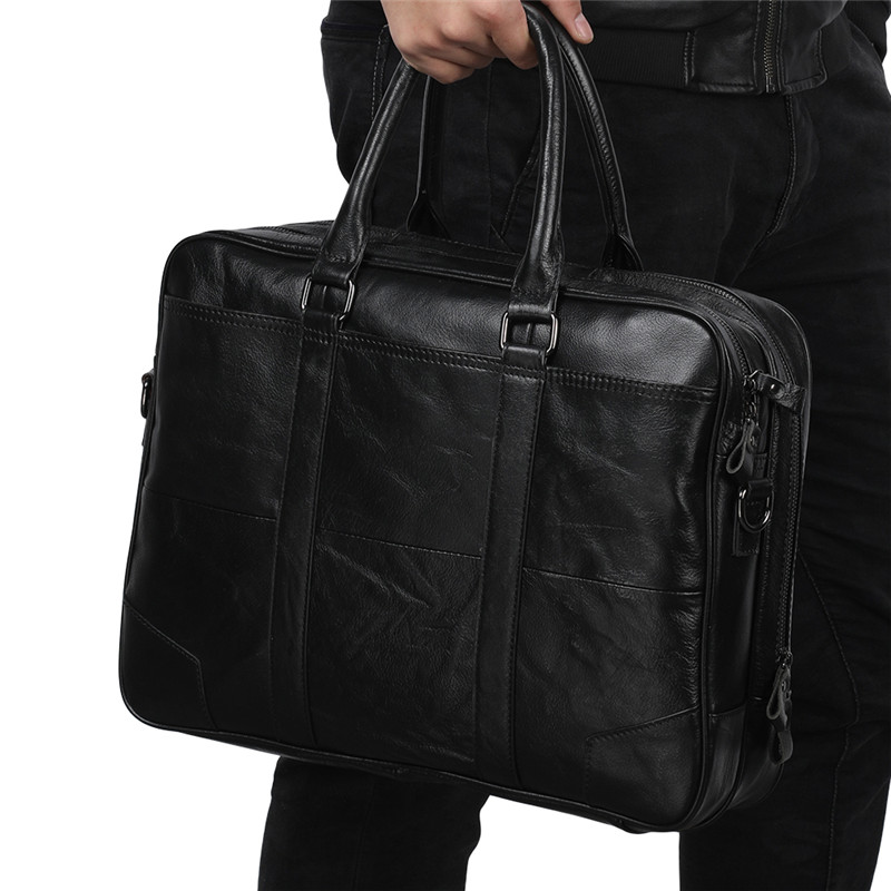 Nesitu Vintage Black Coffee Genuine Leather Men Briefcase Messenger Bags Portfolio 14'' Laptop Business Men's Office Bag M6395