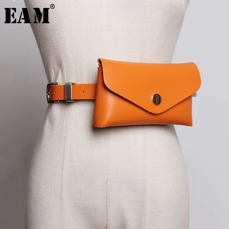 [EAM] 2019 New Spring Summer Pu Leather Personality Brief Candy Colors Mini-bag Belt Women Fashion Tide All-match JX959