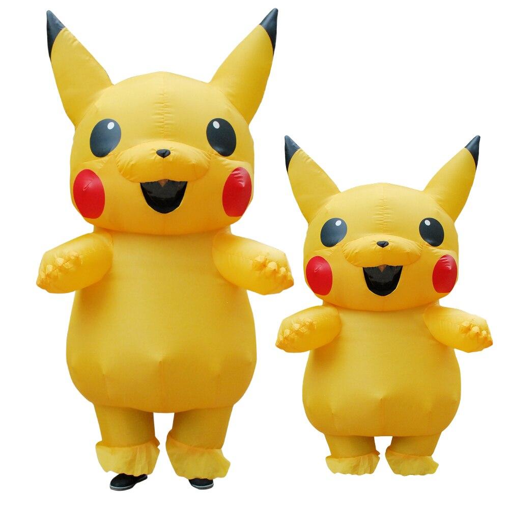 Purim Carnaval Pikachu Inflatable Costume Cosplay Spirit Dress Pikachu Mascot Halloween Costumes for Adult Kids Cosplay