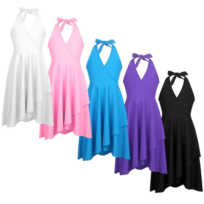 Feeshow Girls Lyrical Ballet Dance Costumes Girls Halter V Neckline Dress  Dance Performance Tutu Costumes Girl Dancewear 6 14T-in Dresses from  Women s ... d371982721d1