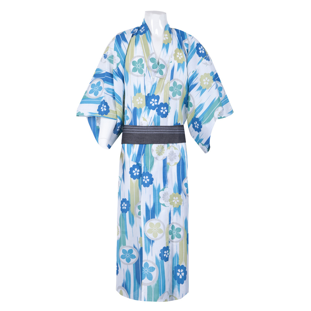 Summer Robe Gown Men Traditional Japanese Kimono Yukata Vintage Performance Clothes Male Cosplay Costume Casual Bathrobe M L