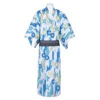 Summer Robe Gown Men Traditional Japanese Kimono Yukata Vintage Performance Clothes Male Cosplay Costume Casual Bathrobe M L