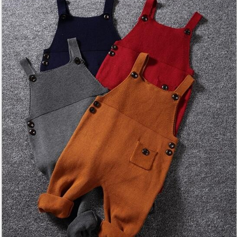 Knitted Baby   Rompers   1-5Y Autumn Baby Boys Clothes Pocket Toddler Infant Jumpsuits Boys Girls Harem Pants Toddler Kids Overalls