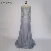 Vestido De Noche Grey Chiffon Crystals Backless Luxury Evening Dresses Long 2017 Long Sleeves Formal Dresses