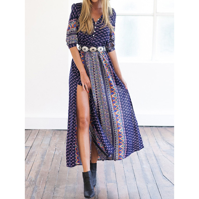 b695d16d3652 CHOIES Maxi Dress Blue Half Sleeve V Neck Buttoned Geometric Folk Tribal  Prints Split Side Dresses 2015 Autumn Women Clothing