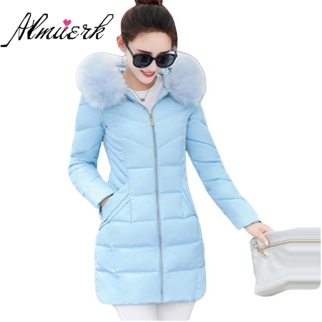 Women winter cotton jacket Korean fashion large size fur collar hooded jacket Thick solid warm Wadded coat Slim Outwear YZ235