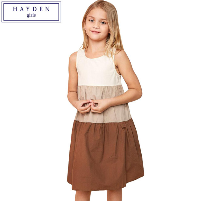 8b6953ea4cc HAYDEN Girls Patchwork Dress Kids 2017 Summer Sleeveless Dresses for  Children Teenagers Clothing Size 7 to 14 Years Girl Clothes