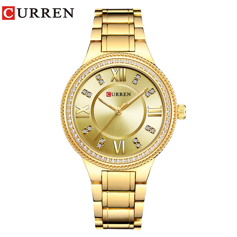 CURREN 9004 Top di Marca di Lusso del Quarzo Delle Donne Della Vigilanza di Cristallo Delle Signore di Disegno di orologi da polso relogio feminino