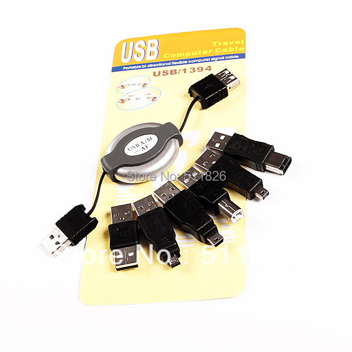 USB Travel Kit Cable IEEE 1394 Firewire 6 Adapters free shipping 8022