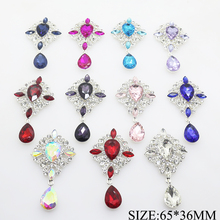 2PCS/LOT 65*36MM Metal Alloy Acrylic Rhinestone Button Crystal Snap Buttons for Clothes Women Scarf Hair Accessories Decorative