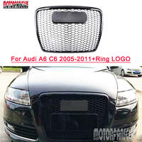 For Audi A6 C6 RS6 Style Front Black Mesh Honeycomb Sport Grill Grille 2005 2011 Bumper