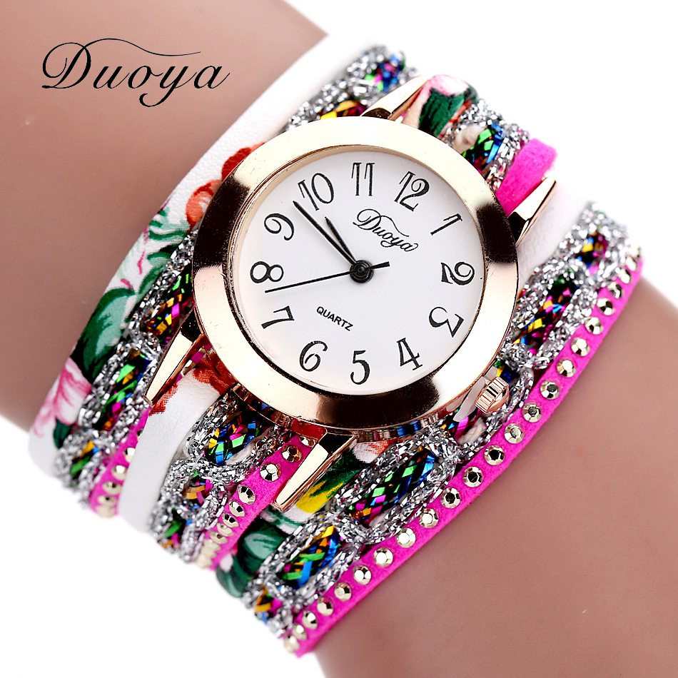 Fashion Watches Women Popular Quartz Watch Luxury Bracelet Flower Gemstone Wristwatch Casual Bracelet Watch Valentine Gift 328