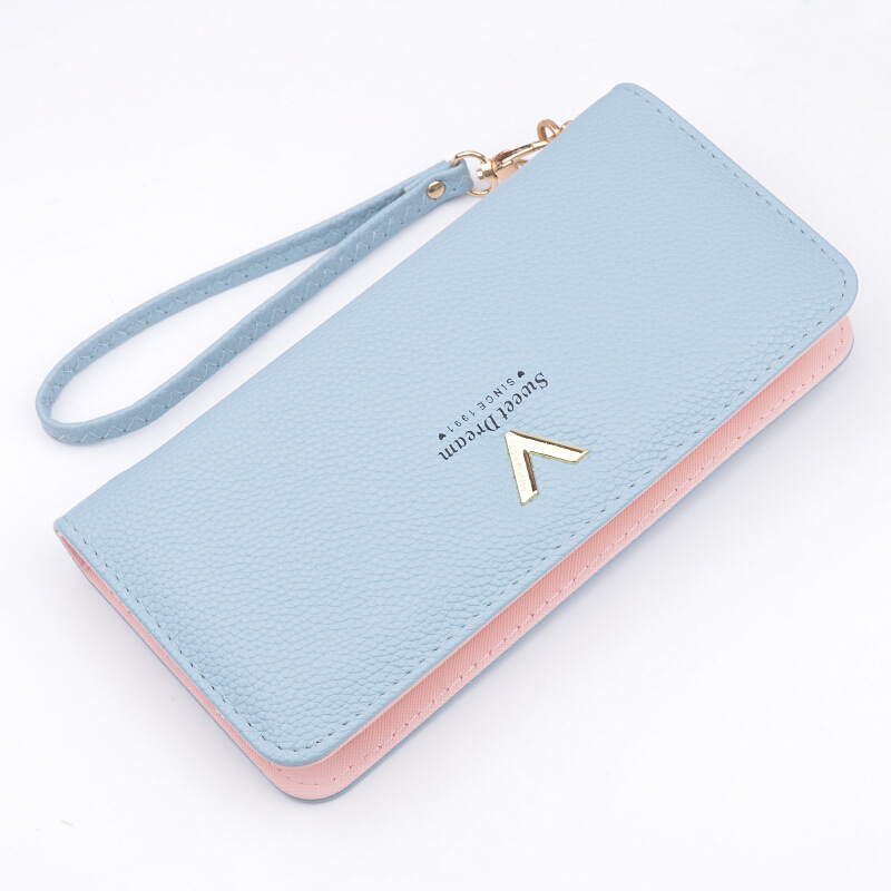 2017 Korean Wallet Ladies Handbag Long Section Zipper Wallet New WomenS Big Notes Folder Multi-Card Bit Long Zipper PU
