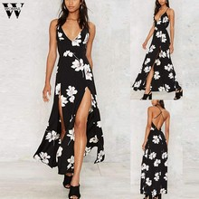Womail Gaun Wanita Musim Panas Flora Cetak Tanpa Lengan BoHo Backless Panjang Gaun Elegan Beach Sundress Pesta Vestidos Kasual 2019 J78(China)
