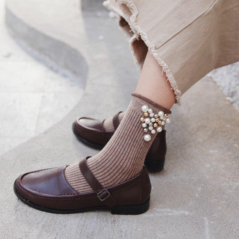 Pearl Decoration Cool Fashion Winter Cotton Socks Short Harajuku Art Socks Women Sunny Solid Casual Ankle Funny Socks Hipster