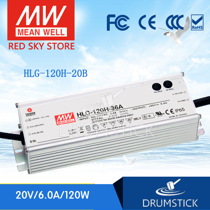 все цены на Hot sale MEAN WELL original HLG-120H-20B 20V 6A meanwell HLG-120H 20V 120W Single Output LED Driver Power Supply B type