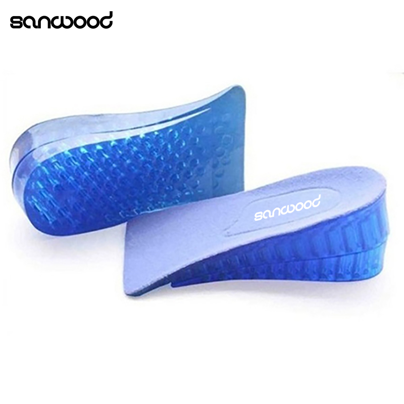 Unisex Silicone Lift Height Increase Double Layers Shoe Insoles Heel Insert Pad