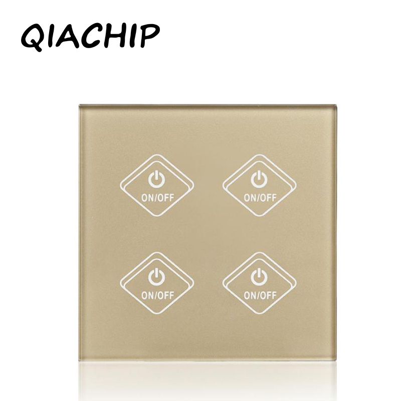 QIACHIP Remote Control Switch 4 Gang 1 Way Smart Wall Touch Switch+LED Indicator Crystal Glass Switch Panel 170-240V Wall Switch k1rf ltech one way touch switch panel ac200 240v input can work with vk remote page 1