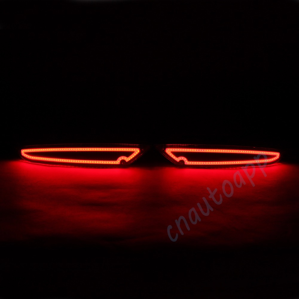 LED Rear Bumper Warning Lights Car Brake Lamp COB Running Light LED Whole Surface Glowing For VW  Volkswagen Golf 6  (One Pair) 1 pair dc 12v car warning lights red rear bumper light 5w led lights
