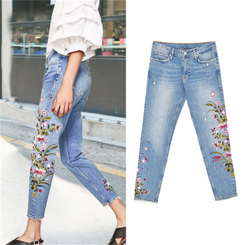 2018 spring and summer loose retro jeans Female bf wind new embroidery flower hole jeans female harem pants wide leg pants