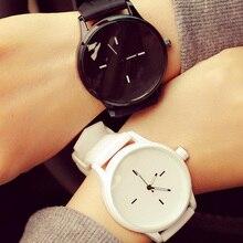 Простой Дизайн леди смотреть студент часы Женская Мода из искусственной кожи Повседневное наручные часы унисекс Relogio Feminino черный/белый # JU