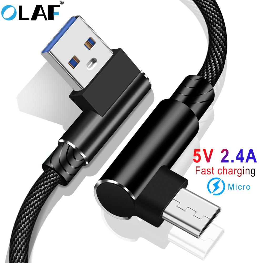 OLAF 1/2/3 m en forme de L connecteur Micro USB câble de charge en Nylon tressé Micro USB câble de charge rapide câble chargeur ligne de fil