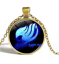 Fairy Tail Necklace Anime Role Jewelry Glass Cabochon Pendant