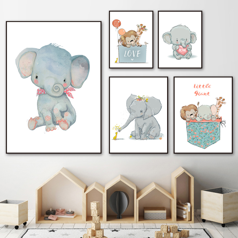 Lion Giraffe Elephant Rhino Love Gift Wall Art Canvas Painting Cartoon Nordic Posters And Prints Pictures For Kids Room Boy