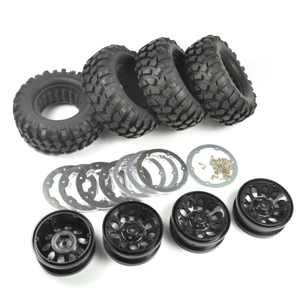 Rc 1/10 Crawler 96mm Tire Set 1.9 Inch Beadlock Wheels Rims for RC4WD D90 Tamiya CC01 4pcs mxfans rc 1 10 2 2 crawler car inflatable tires black alloy beadlock pack of 4
