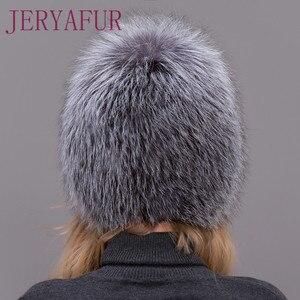 Image 3 - 뜨거운 판매 100% 천연 실버 폭스 모피 여성 겨울 모자 니트 모자 여성 모자 여우 모피 폭탄 모자 여성 귀 따뜻한 겨울해야합니다