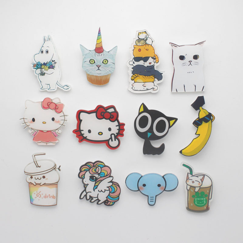 1 Pcs Japanese Cartoon Comic Icon White Cat Banana Drinking Cat Sheep Colorful Acrylic Brooch Pin Badges On Backpack For Clothes