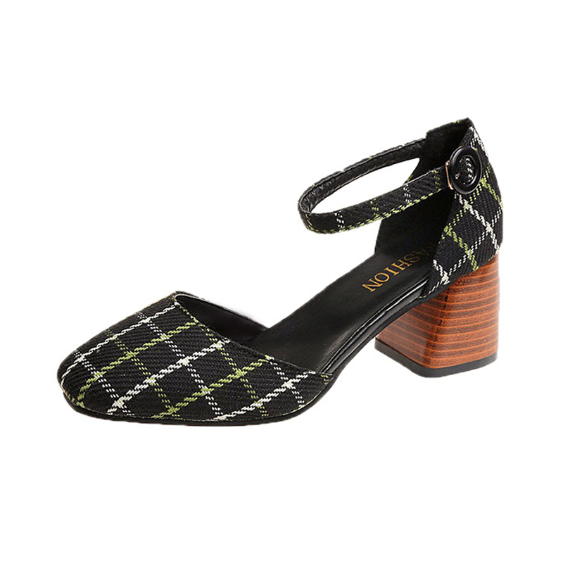 High Heels Shoes Women Pumps Square Toe Summer Sandals Thick Heels Plaid Casual Good Quality Female Office Shoes Comfortable 2