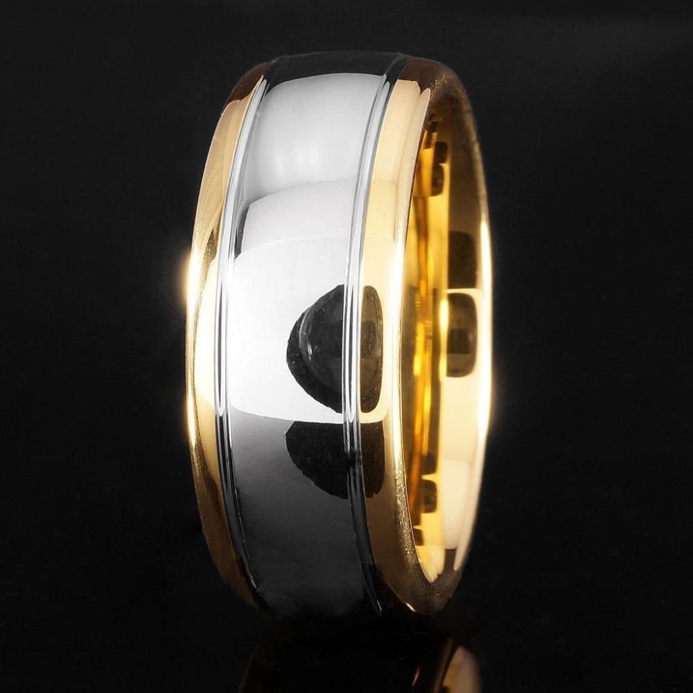 8mm Tungsten Carbide Pernikahan Band Emas Perak Dome Gunmetal Bridal - Perhiasan fashion - Foto 3