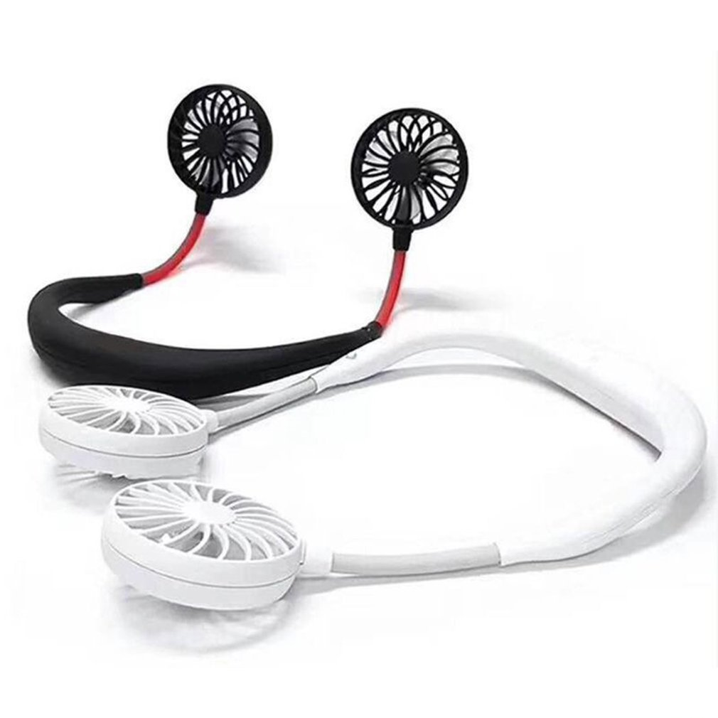 Speed Adjustable Summer Hands-Free Neck Band Hanging USB Rechargeable Dual Fan Mini Air Cooler Portable
