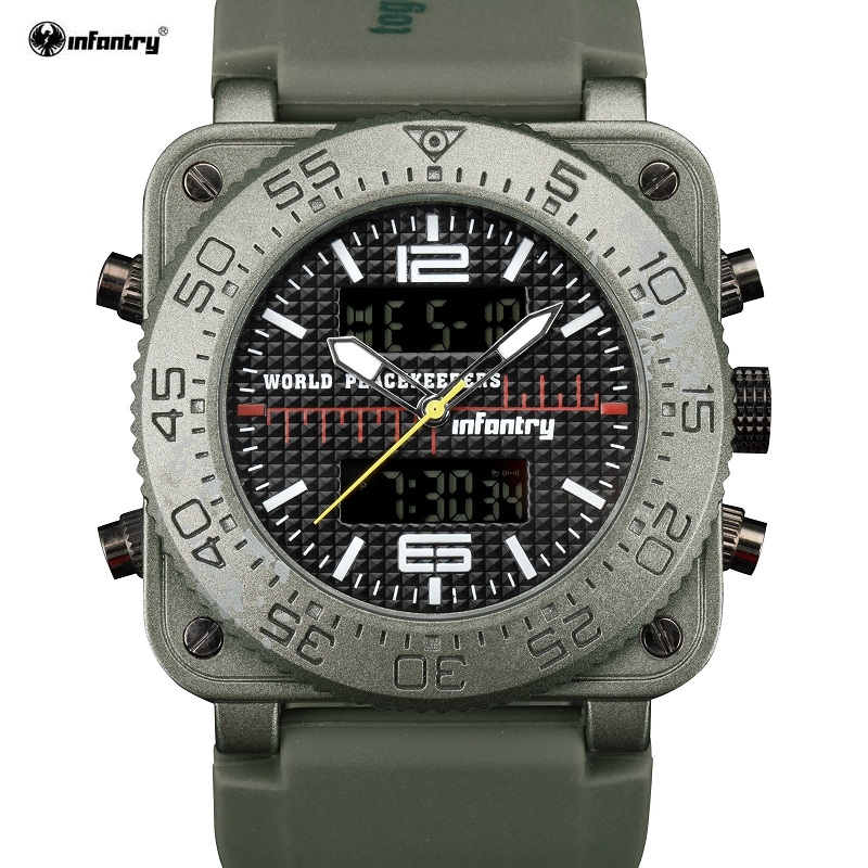 INFANTRY Brand Army Green Male Watches Date Day Display Rubber Strap Digital Chronograph Alarm Quartz Sport Men Clock / INF017 sanda date alarm men s army infantry waterproof led digital sports watch gray rubber