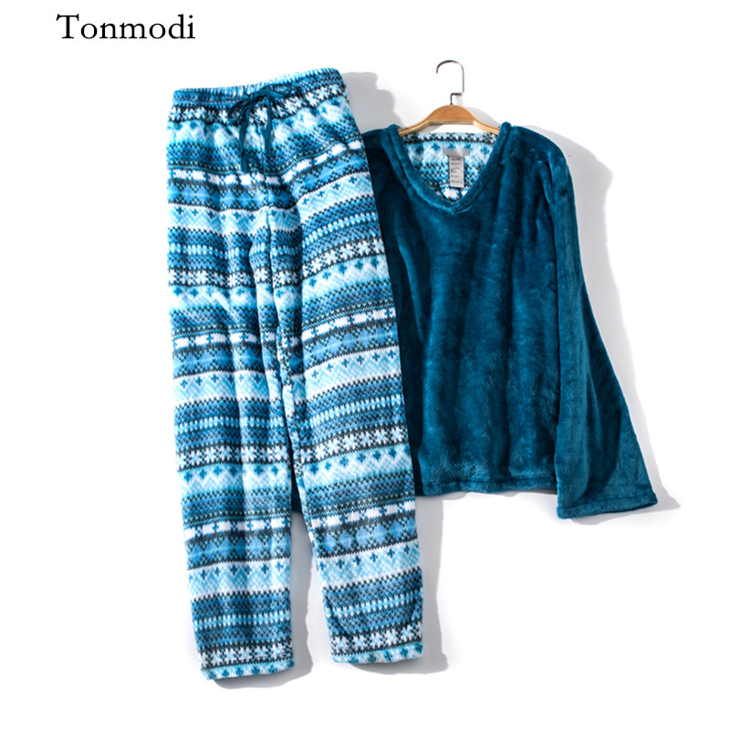 Women's Sleepwear Coral velvet warm Winter pajamas Long Sleeve Thickening Pyjamas Women lounge Pajamas Set