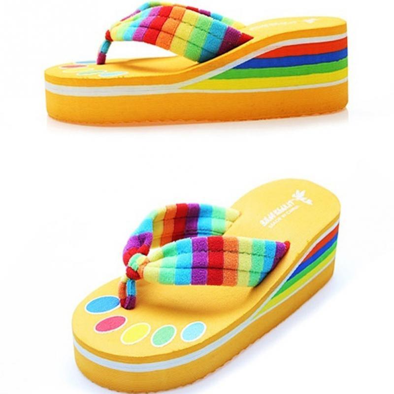 314905fc2d92 Women Beach Sandal Rainbow Flip Flops High Platform Slippers Summer Beach Sandals  Anti slip lightweight Shoes-in Slippers from Shoes on Aliexpress.com ...