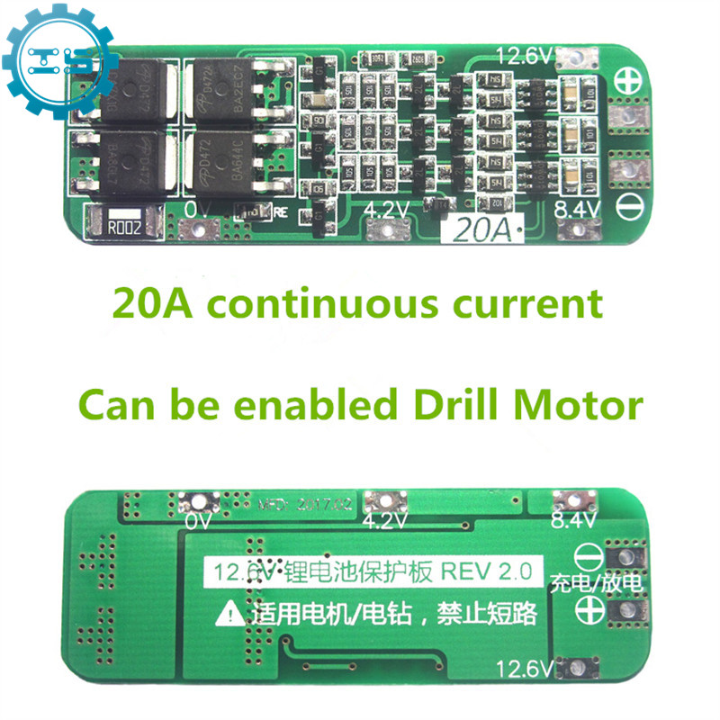 New 3S 20A Li-ion Lithium Battery 18650 Charger PCB BMS Protection Board For Drill Motor 12.6V Lipo Cell Module Free Shipping 5pcs lot protection circuit module 2s 7a bms pcm pcb battery protection board for 7 4v polymer lithium ion battery pack
