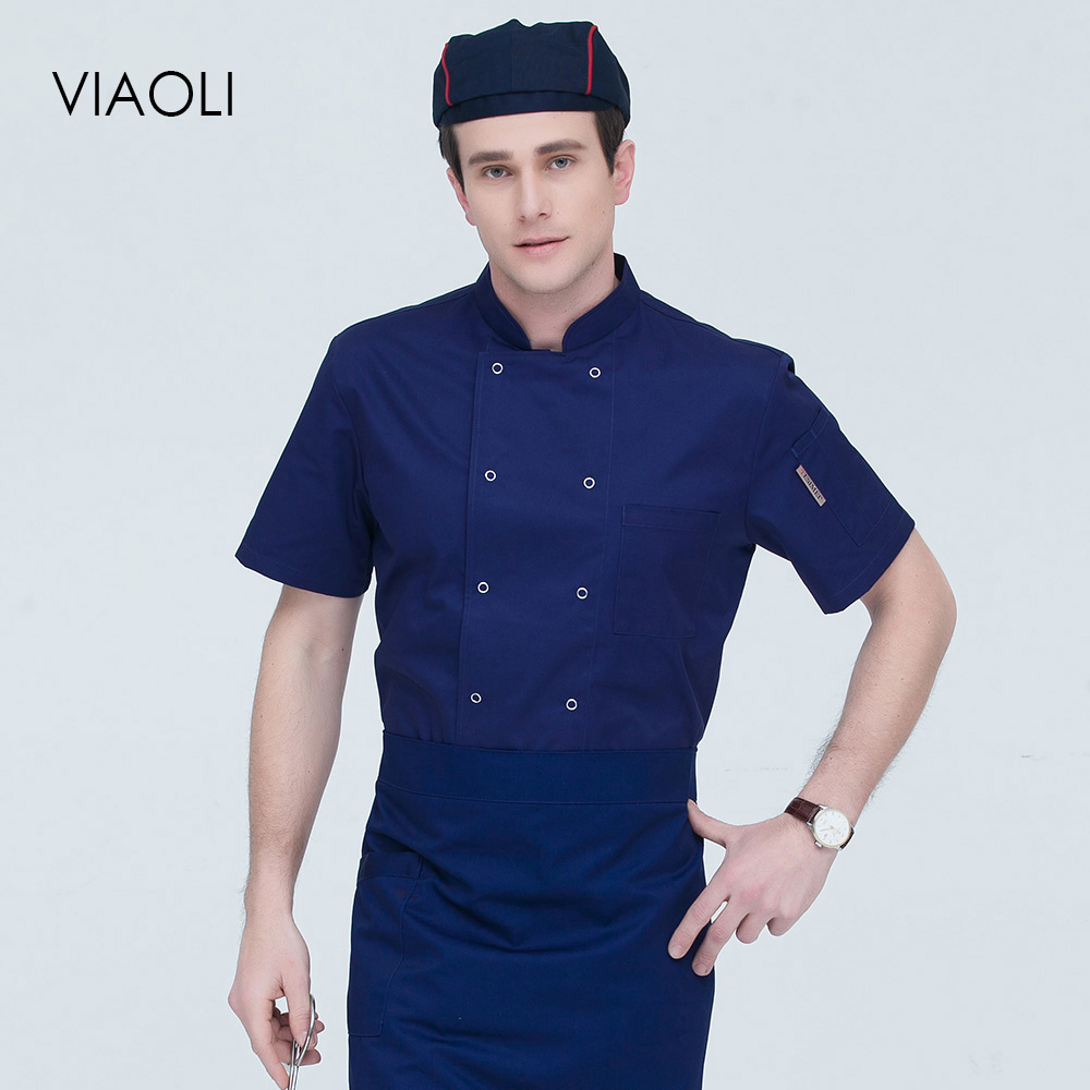 Unisex High Quality Short Sleeves Chef Jackets Double-breasted Food Service Chef Uniform Restaurant Chef Coats 7 Colors M-4XL