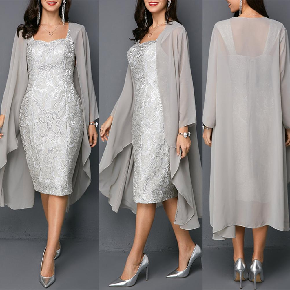 New Arrivals Women 2Pcs/Set Wedding Party Knee Length Mother Of The Bride Lace Dress With Cardigan