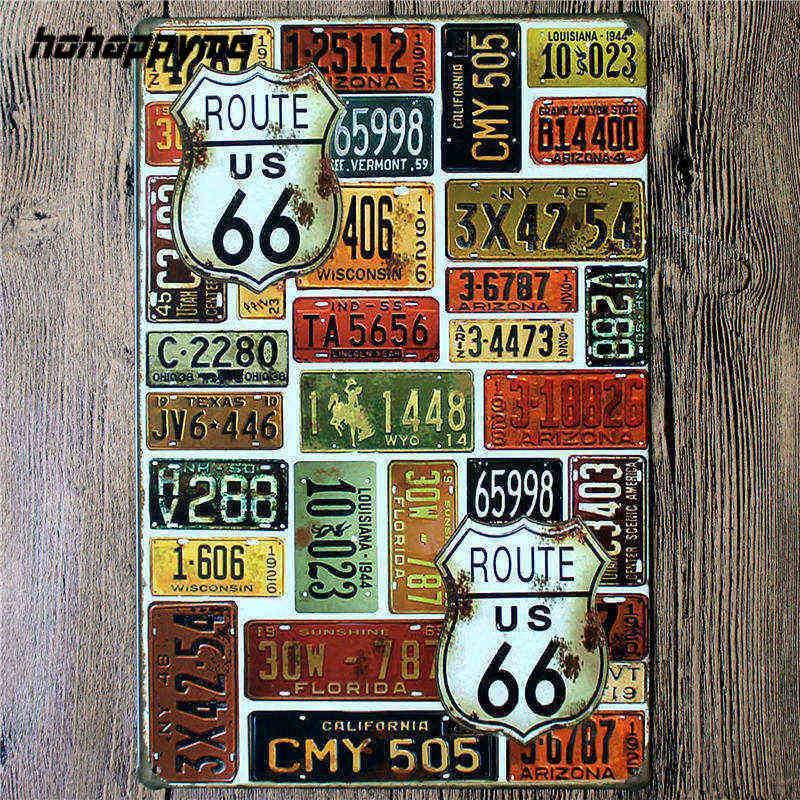 Us 4 99 36 Off Poster Route 66 Decor Metal Sign Decoration Tin Plates Retro Signs Wall Art Plaque Vintage Pub Beer Home 20 30 Cm In