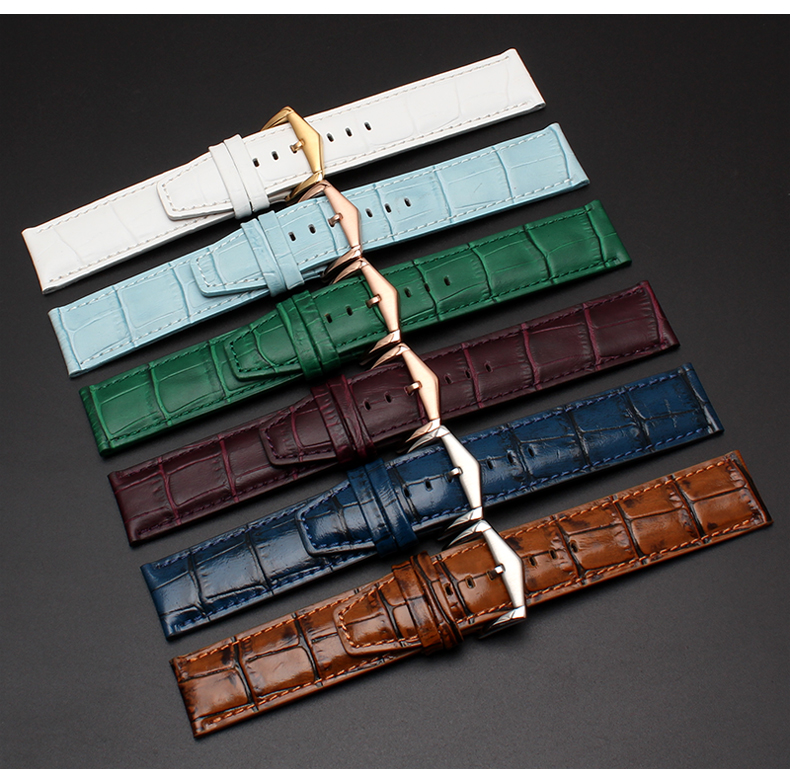 22mm 12 Colors New Luxury Men Lady  Real Cowhide Leather VINTAGE Wrist Watch Band Strap Belt Silver Rose Gold Polish Pin Buckle
