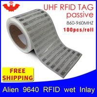 UHF RFID tag EPC 6C sticker Alien 9640 wet inlay 915mhz868mhz860 960MHZ Higgs3 100pcs free shipping adhesive passive RFID label