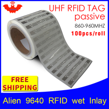 UHF RFID tag EPC 6C sticker Alien 9662 wet inlay 915mhz868mhz860-960MHZ Higgs3 100pcs free shipping adhesive passive label