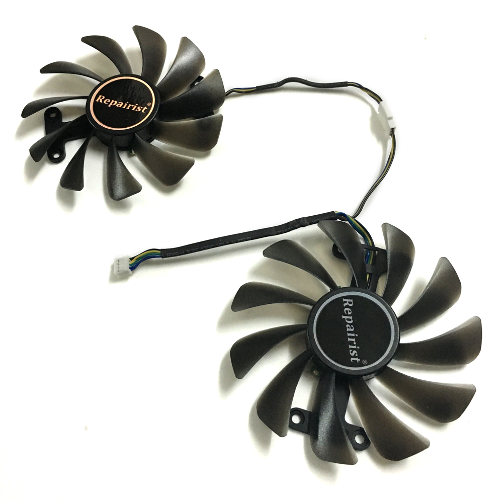2pcs/lot Video cards fan GTX1070 GPU Cooler For ZOTAC GeForce GTX 1070 AMP Edition Graphics Card cooling as Replacement 2pcs lot computer radiator cooler fans rx470 video card cooling fan for msi rx570 rx 470 gaming 8g gpu graphics card cooling