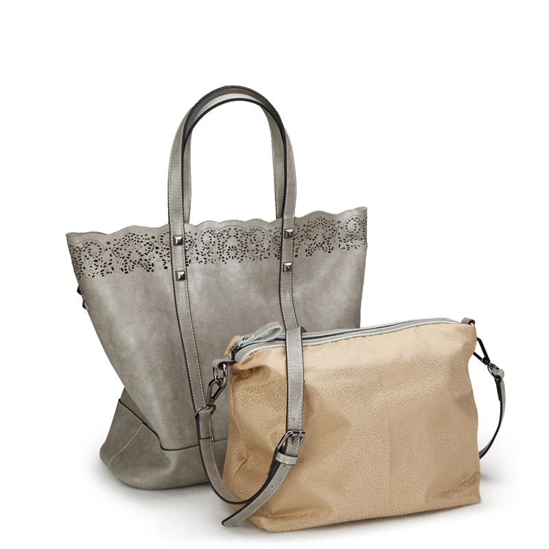 Women bag set genuine leather bag big handbags hollow out high quality designer handbag famous brand luxury bags