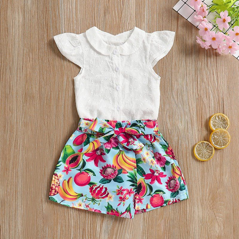 Summer Baby Girl Clothes Set Vest Tops Sleeveless T-shirt Printing Shorts Girls Clothing Cotton Cute Princess 2pcs Outfits