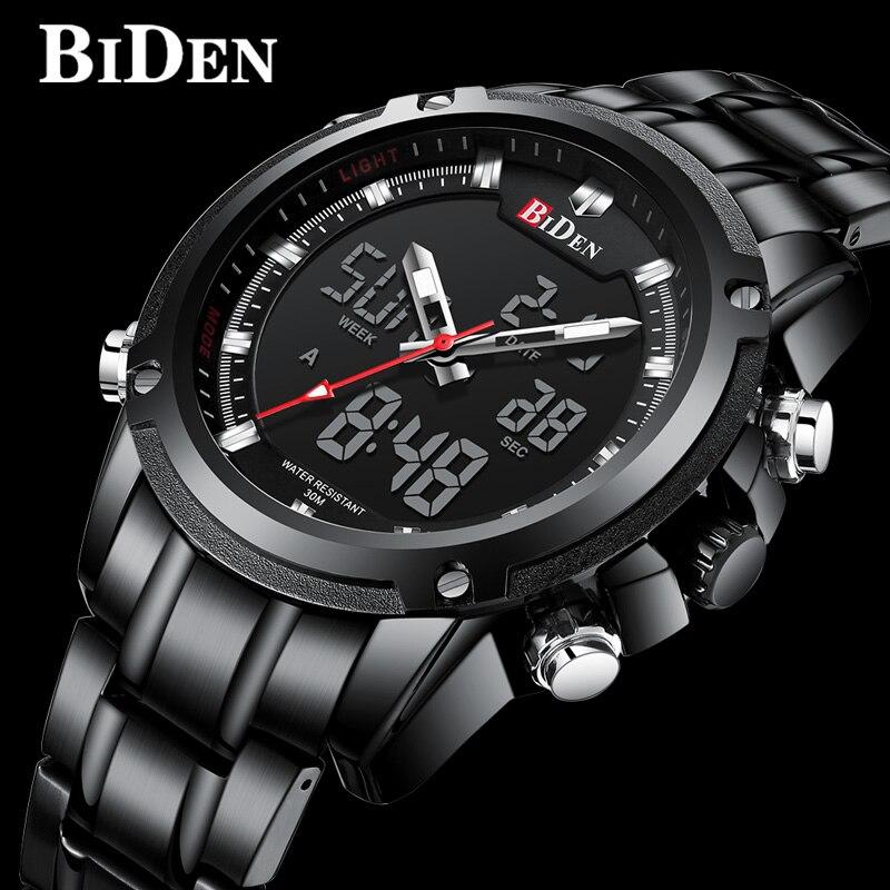 Military Male Clock Digital Quartz LED Stainless Steel Sports Wristwatch 0111
