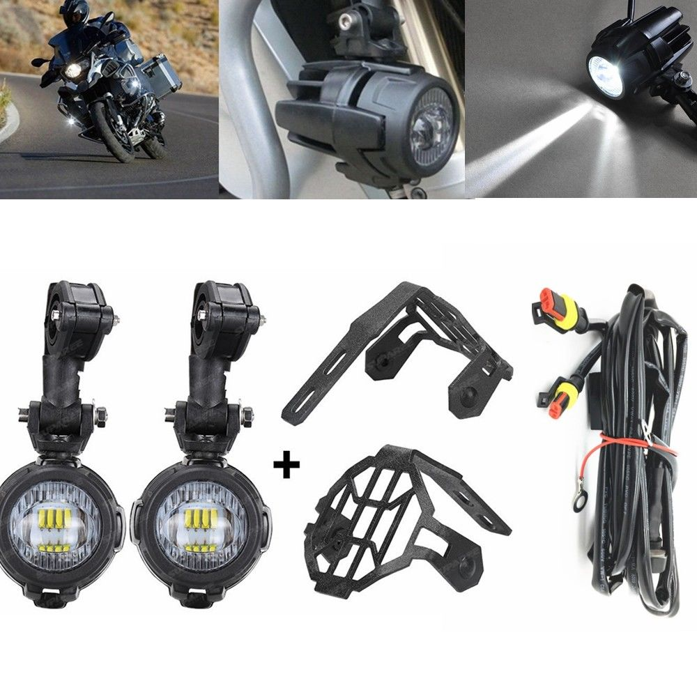 40W Motorcycle LED Auxiliary Fog Light Kits Spot Driving Lamps With Protect Guards Wiring Harness For For BMW R1200GS F800GS
